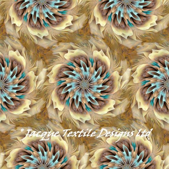 Flower Pedals UNIQUE Handmade Velvet Upholstery Fabric Shimmer Fiber Art Fabric