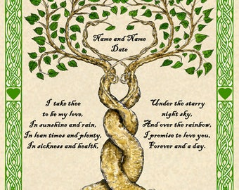 Two Trees Entwined Custom Vows Print Marriage Personalized Wedding Certificate w Celtic Knotwork Border Handfasting Anniversary Wall Art