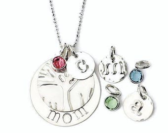 mom gift|Family tree gift for mom Personalized gift|Custom Jewelry|Birthstone initial necklace|Mother's Day Gift|Sterling Personalized Gift