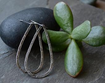 Hand-Stamped Hoop Earrings in Sterling Silver (Sz. Lg)