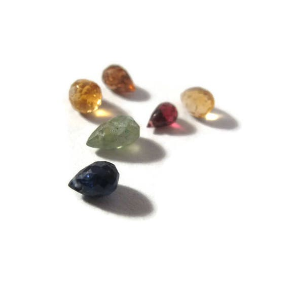 Briolette Grabs : Mixed Lot of 6 Gemstone Beads for Making Jewelry, Apatite, Garnet, Rhodolite, Sapphire & Citrine (L-Mix17a)