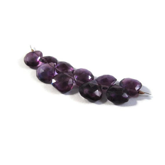 Ten Amethyst Beads, Faceted Purple Briolettes, 10 Purple Gemstones, 6mm x 6mm - 7mm x 7mm, February Birthstone (B-Am6b)