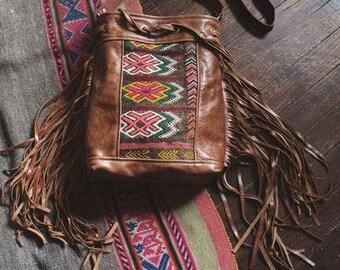 SALE Boho Fringe Bag. Leather Crossbody. Boho Chic Bag.  Leather Fringe Bag. Moroccan Bag. Kilim Bag. Ready to Ship. Festival Fashion.