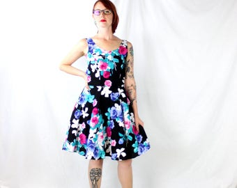 1980's Black Floral Party Dress with Blue and Pink Flowers . Belted and Tulle . Size Medium . Prom Pretty 1990s 90s