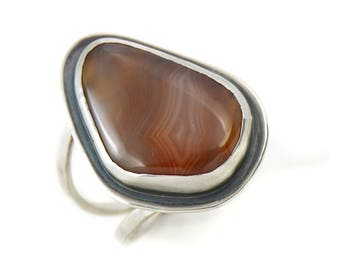Handmade Lake Superior Agate Sterling Silver Double Band Ring Size 8.5