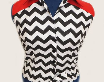 Twin Peaks Inspired chevrons and Red Tie Shirt.
