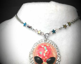 Alien Necklace cameo pink heart glitter star beads
