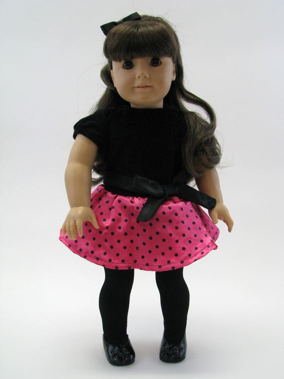 Black Velvet & Polka Dot Satin Party Dress with Headband - 18 Inch Doll Clothes