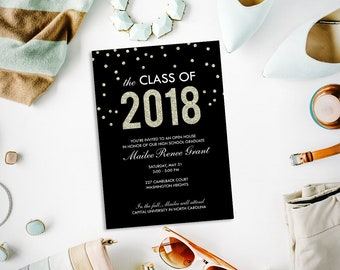 Gold and black graduation party invitation, class of 2018, faux glitter graduation open house, printable invitation