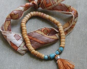 Boho silk ribbon and  tassel bracelet set,bohemian bracelets,stacking bracelet,stretch bracelet. Tiedupmemories