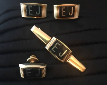 Anson Cufflinks Tie Pin Tie Bar Set Gold Tone Black Initials EJ True Vintage