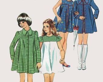 Vintage 1970s Girls Mini Tent Dress & Coat Sewing Pattern Simplicity 6188 Retro 70s Pattern Size 7 Breast 26