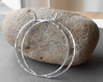 Sterling Silver Hoop Earrings, Thin Hammered Silver Hoops, minimal earrings