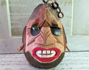 Vintage Carved Coconut Pirate Head
