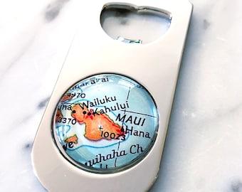 Maui Map Bottle Opener - Maui Beer Opener - Wedding Favor - Housewarming Gift - Groomsmen Gift - Destination Wedding - Hawaii Beer