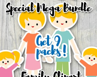 Family clipart sale / mother's day father's day clip art commercial use / parents kids / printable planner sticker die cut design download