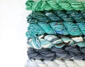 ocean baths ... handspun yarn set, weaving creative yarn bundle, hand spun, hand dyed yarn, handspun art yarn