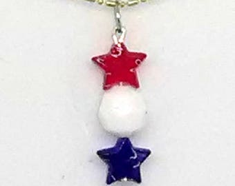 Patriotic Star and Round Beaded Pendant Necklace