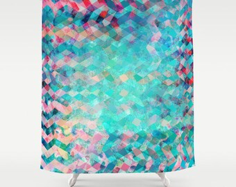 Colorful modern fabric shower curtain- blue and pink-abstract design-bathroom decor-water resistant shower curtain-artist shower curtain