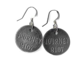 Graduation Gift, Metal Stamped Earrings, Stamped Jewelry, Travel Jewelry, Journey Stamped Earrings, Metal Earrings, Yoga Earrings