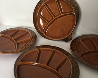 McCoy Parisianne Gourmet Stoneware Plates Fondue Appetizer Divided Plates In Chestnut Brown Set of Four