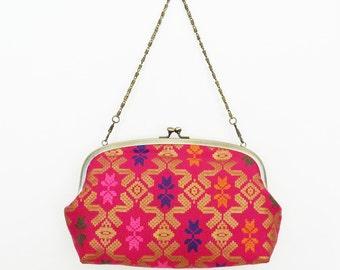 Handbag, pink and metallic gold printed Indonesian cotton, evening purse