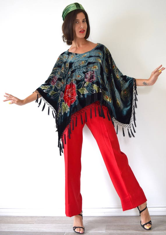 Vintage 90s Velvet Burnout Beaded and Sequined Fringe Poncho