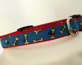 Small Dog Collar - Dog Bones Dog Collar - 5/8 Inch Wide - Adjustable Between 9-14 Inches - Boy Dog Collar - Red and Blue - READY TO SHIP