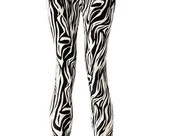 Zebra legs zebra printed leggings punk leggings | workout leggings black leggings