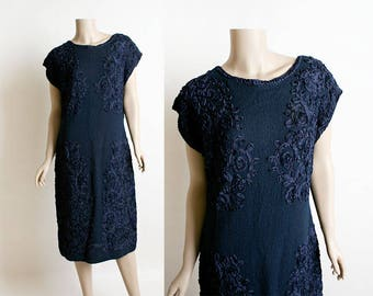 Vintage 1960s Dress - Knit Tunic Style Dress with Ribbon Soutache Style Details - Dark Navy Blue - 1940s Style - Large XL