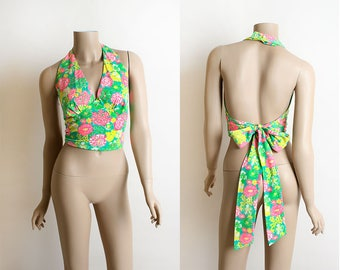 Vintage 1970s Halter Top - Wrap Style Tie In The Back with Huge Long Bow - Neon Pink Green Yellow Floral Print Half Crop Top - Small Medium