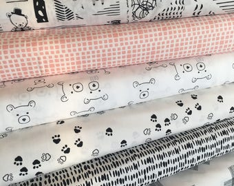 Nest Fabric, Neutral Nursery, Quilt or Apparel Fabric, Gender Neutral, Black White Decor, Bear, Art Gallery Fabric- Fabric Bundle of 7
