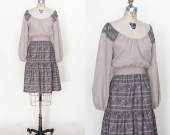 Vintage 1970s Bohemian Prairie Dress Medium