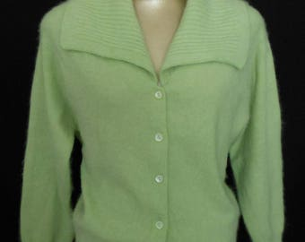 Vintage 60s Angora Sweater, 1960s Spring Green Fluffy Furry Cardigan with Oversized Collar, Size M to L, Medium to Large