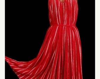 ON SALE Vintage 70s Grecian Goddess Dress and Jacket Two Piece Set Ensemble Red Cotton Gauze, Boho Rich Hippie Metallic Gold M L Xl