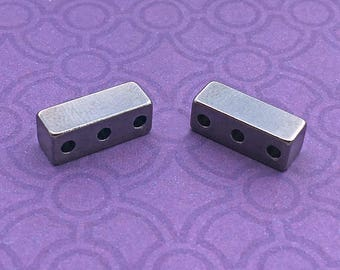 1 (2 pcs) 3-Hole Magnetic Jewelry Clasp,  Gunmetal Gray, Extra-Strong, about 16mm x 6mm with 1mm holes