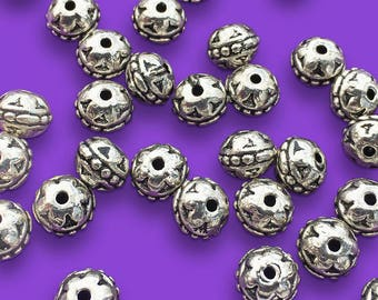 10 Rondelle Beads, Bali Style, Antiqued Silver Tone, about 6mm x 8mm with a 1.5mm Stringing Hole - TS204R
