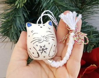 Ceramic Cat Ornament, Christmas Cat Bell, Silver, Blue and White