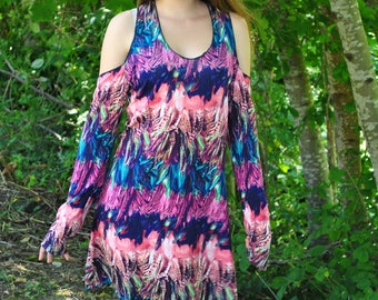 Cold Shoulder Top - Womens Dress - Festival Dress - Boho Top - Boho Dress - Mini Dress - Hippie Dress - Festival Top - Gypsy Top