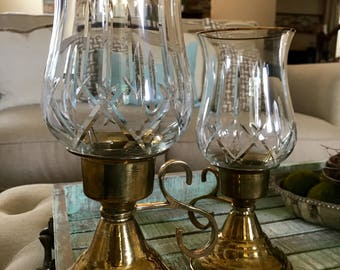 Crystal and Brass Hurricane Lamp Set of Two Candleholder Candle Gold Trim Crystal Shabby Country Cottage Farmhouse TYCAALAK