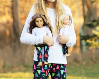 Matching Girl Doll Clothes fits American Girl Doll OR Wellie Wisher - Christmas Tree Leggings, 6m, 12m, 18m, 2T, 3T, 4T, 5, 6, 7, 8, 10, 12