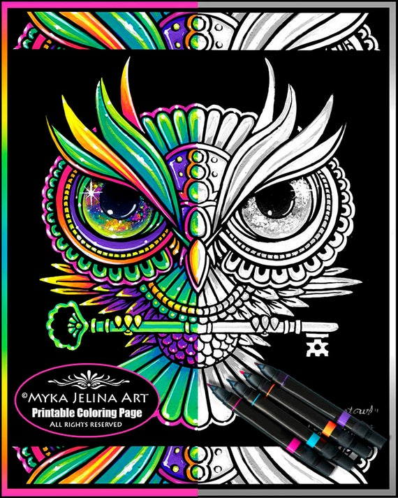 Crystowl grayscale digital download coloring page for Myka jelina coloring pages