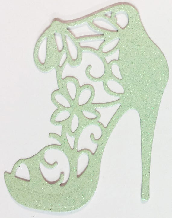 High Heel Shoe Die Cut Mint Green Glitter Card Stock - Glamorous Feminine Embellishment Scrapbook Card Party Invitation Art Craft Collage