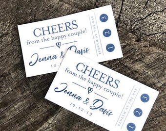 Wedding Drink Punch Tickets - Redeem for a Drink - Party Bar Tickets - Paper Token tickets - Punch Card - Drink Token Drink Limit Card