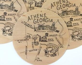 Birch Wood Athens, Georgia Map Ornament