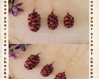 Copper Pinecone Necklace, Copper, Real PineCones, Copper Pine Cones, Redwood, Long Layered Rose Gold Necklace, PC67