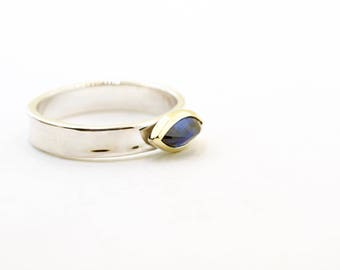 Wavy Concave Sapphire Ring Marquise 18k Gold Sterling Silver Two Tone Recycled Metal