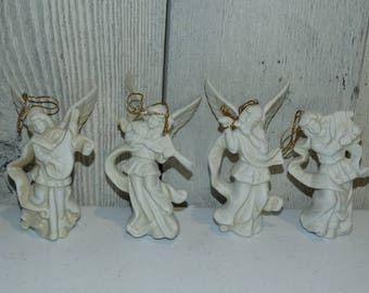 Vintage Porcelain Angel Christmas Tree Decorations, Angelic, Victorian Style Angels, White Christmas Angels