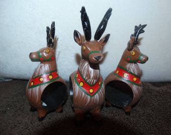 Reindeer Napkin Rings, (3), Hand Painted, Antlers, Rudolph, Wooden Ornament Napkin Rings, Table Decor