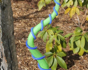 Lime Green Silly Woolly Worm With Blue Body Wrap Glass Garden Art Sculpture Outdoor Yard Decoration